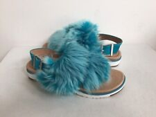 UGG HOLLY ENAMEL BLUE FLUFFY SHEEPSKINS STRAP SLIPPERS US 9 / EU 40 / UK 7.5