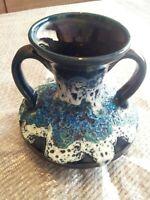 Rare West German Fat Lava Glaze Vase with Double Handles Stunning!! Mid Century