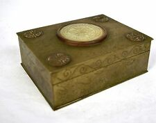 Trinket Box Hand Chased Brass Jade Wood Lined Dragon Butterfly Flower China