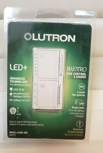 NEW Lutron Maestro Fan Control & LED Dimmer MACL-LFQH-WH--Same Day Shipping !