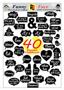 40 DIY PDF Printable Chalkboard Signs in 2 size Speech Bubbles Photo Booth Props