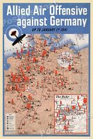 """1940s """"Allied Air Offensive against Germany"""" WWII Propaganda War Poster - 24x36"""