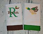 Mallard Duck Personalized Burp Cloth set 2 Boys  Burp Cloths