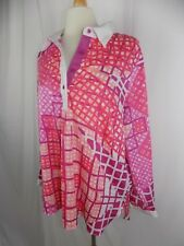 Bob Mackie Women's L/S Top Blouse Size XL 1/4 Button Pink Purple White