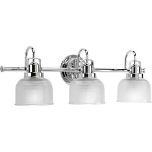 Progress Lighting Archie 3-Light Bath Clear Prismatic Glass in Chrome - P2992-15