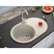 BERGSTROEM Évier de cuisine en granit encastré réversible 780x500 beige