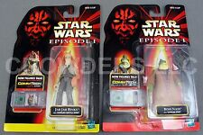 Star Wars Episode 1 Boss Nass w/ Gungan Staff Jar Jar Binks w/ Battle Staff NIP