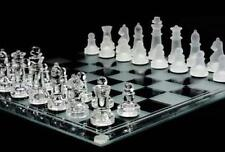 LARGE 10 INCH SQUARE COMPLETE GLASS CHESS SET - game pieces and board  play new