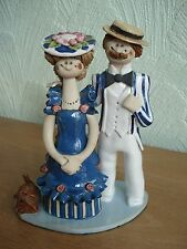 "Laura Dunn Studio Pottery Figurine ""Happy couple with dog"""