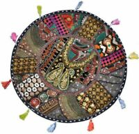 Indian Floor Cushion Round Cover Patchwork Pillow Pouf Meditation Boho Decor