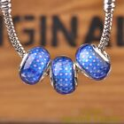 New 10pcs 14mm European Bracelet Resin Stars Pattern Loose Big Hole Beads Blue