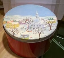 """Vintage City """"Winter Sleigh Ride Scene"""" Tin Can 6"""" Tall X 9 3/4"""" Wide"""