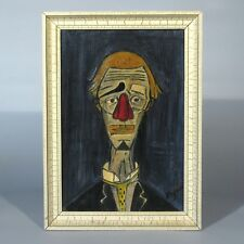 "Vintage French Oil Painting after the ""Tête de Clown"" by Bernard Buffet, Signed"