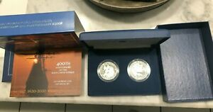 Mayflower 400th Anniversary Voyage Silver Proof & Medal 2 COIN SET actual shown