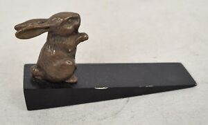 San Pacific Bronze Rabbit Wood Door Stop SPI