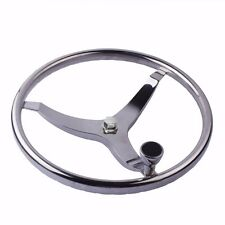 "Boat Stainless Steering Wheel With Knob 3 Spoke 13-1/2"" Dia and 5/8"" Nut"