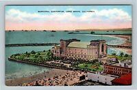 Long Beach CA, Municipal Auditorium, Linen California Postcard