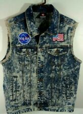 rap hip hop vest distressed denim patches run dmc nasa american flag lrg custom