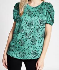 BNWT RIVER ISLAND green animal leopard print puff sleeve blouse size 14 READ
