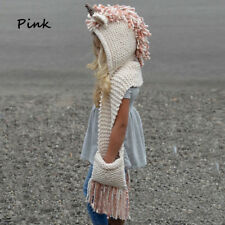 New Unicorn Winter Hat with Scarf Hooded Knitting Beanie Cosplay Photography