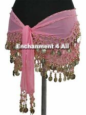 Exotic Belly Dance Hip Scarf Wrap w Beads & Coins, Pink