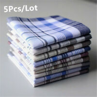 5 Pcs /Lot Cotton Plaid Men's Handkerchief Square Decorative Suits Grids Hanky