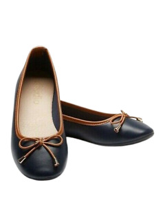 Womens Flat Shoes Wide Fit Size 7 Navy Tan Ballerina Bow Slip On Pump Ladies NEW