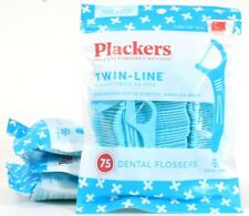 4 Plackers Twin Line Dental Flossers Cool Mint No Stretch Shred Break 75 Count