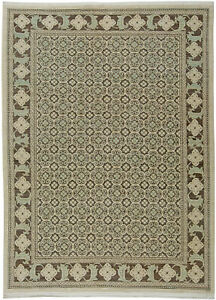 T a b r i z Style Brown and Light Beige Handwoven Wool Rug N10831
