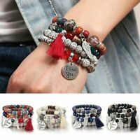 4pcs/set Boho I Love You Multilayer Natural Stone Bracelet Bangle Beaded Jewelry