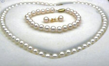 SETS OF 10-11MM SOUTH SEA WHITE ROUND PEARL NECKLACE BRACELET EARRING 14K JN1867