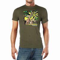LRG Mens T-Shirts Green Size Medium M Giraffe Print Graphic Tee Crewneck 288