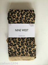 NINE WEST M/L Leopard BLACK / Nude FASHION Footless TIGHTS NWT $18.00