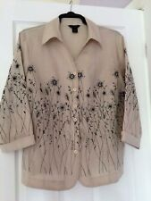 Anne Carson 100% Linen Beige Jacket/Blouse Long Sleeves  beaded & embroidery