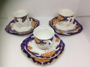 3 x ROYAL STANDARD bone china TRIOs.6043 pattern.1950 s. England. Blue - gold tr
