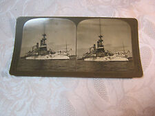 BATTLESHIP MASSACHUSETTES US NAVY  STEREOVIEW CARD PHOTO ANTIQUE   T*