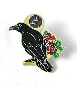 Raven with Roses and Moon Pin Badge Brooch. Rook Crow Odin Wiccan Goth Heathen
