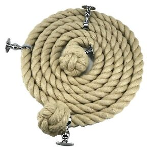 Natural Hemp Bannister Handrail Stair Rope Select Diameter, Length and Fittings
