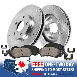 Front Drilled And Slotted Brake Rotors Ceramic Pads For QX56 QX80 Nissan Armada