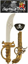 PIRATE SET 3Pcs Captain Kit Eye Patch Gun Cutlass Fancy Dress Costume Accessory