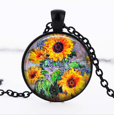 Monet Sunflowers Black Glass Cabochon Necklace chain Pendant Wholesale