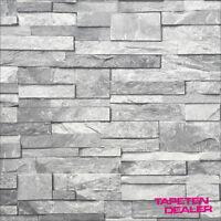 Steintapete / 3D Optik Stein-Tapete / Steinwand grau / Ideco A17202 / Mauer grau