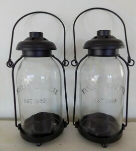 Lot 2 Yankee Candle Mason Jar Tealight Hanging Black Metal and Glass Lantern