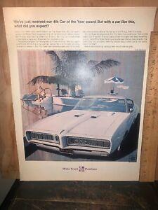 "1968 Pontiac Gto Print Ad 10.5 X 14"" Approx. 1968 GM"