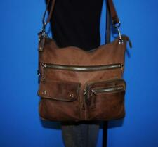 "FOSSIL ""SUTTER"" Medium Brown Leather Crossbody Organizer Tote Shoulder Purse Bag"