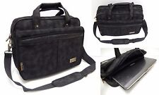Mens Ladies Quality Black Expandable Canvas Laptop Bag Executive Work Briefcase