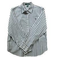 Lauren Ralph Lauren Womens Top Black & White Striped Button Down Blouse Size M