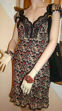 ANNA SUI Silk Floral Print Dress with Black Lace Accents Size 6