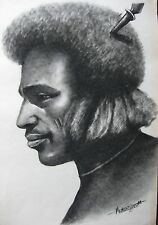 LARGE AFRICAN TRIBAL PORTRAIT SKETCH ADDIS ABABBA ETHIOPIA