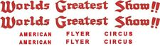 American Flyer Circus Passenger Car Decals 649